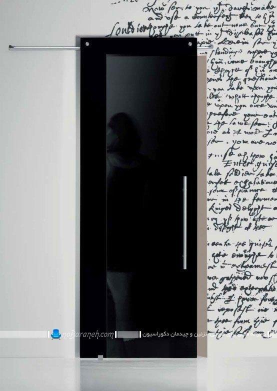 مدل درب داخلی شیشه ای با رنگ سیاه / عکس