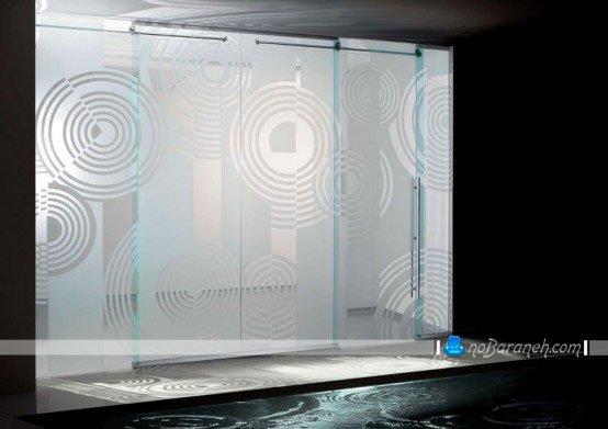 درب شیشه ای بزرگ با طراحی کشویی دستی