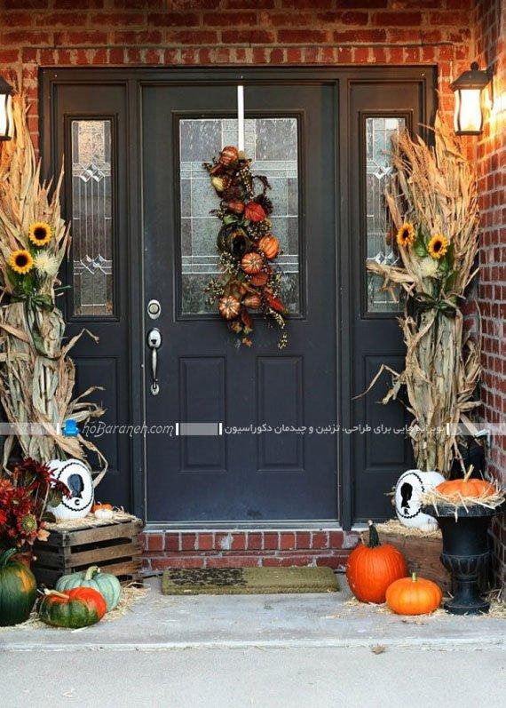 عکس تزیین در ورودی شیشه ای و چوبی خانه با گیاهان خشک شده / عکس