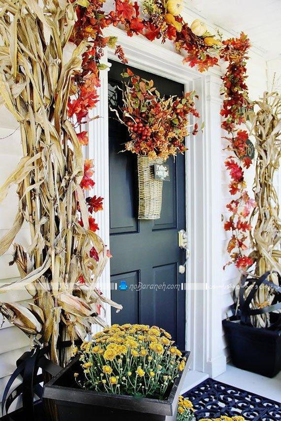 دیزاین ورودی منزل با گیاهان خشک شده
