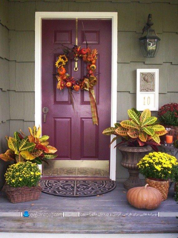 تزیین در خانه به شکل هالووینی با گلدان و کدو تنبل / عکس