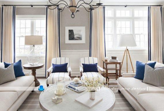 عکس دیزاین و طراحی شیک اتاق پذیرایی با آبی