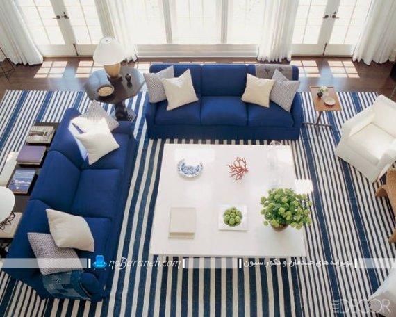 فرش و مبلمان آبی رنگ برای چیدمان پذیرایی