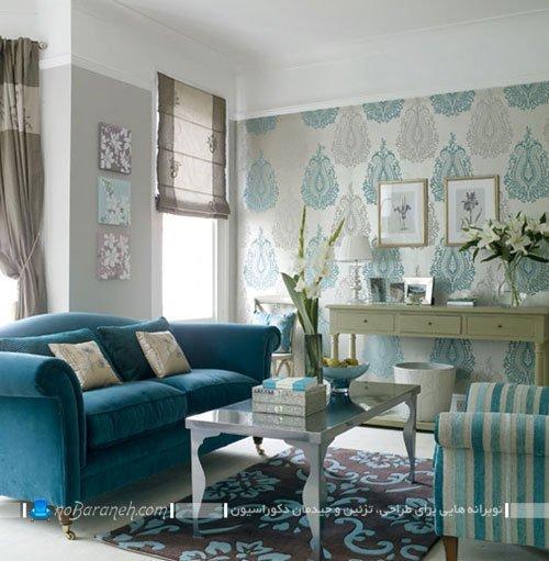 ایده های تزیینی برای اتاق پذیرایی با رنگ آبی