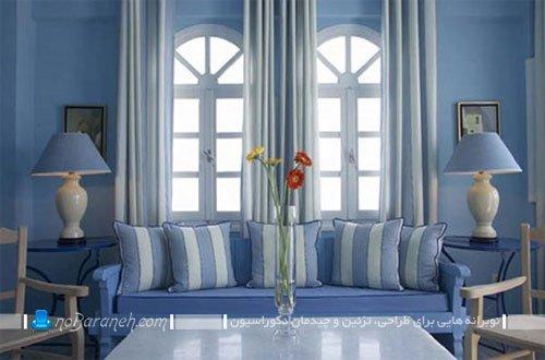 دیزاین اتاق پذیرایی با رنگ آبی درباری