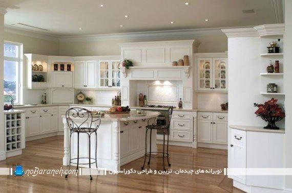 مدل کابینت کلاسیک ممبران برای آشپزخانه جزیره