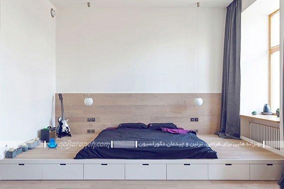 کشو کاری کف اتاق خواب برای مدیریت بهتر فضا