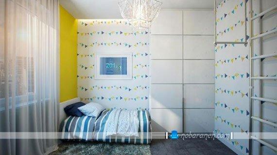مدل کاغذ دیواری اتاق کودک با طرح و رنگ شاد، طراحی دکوراسیون داخلی اتاق خواب نوجوانان