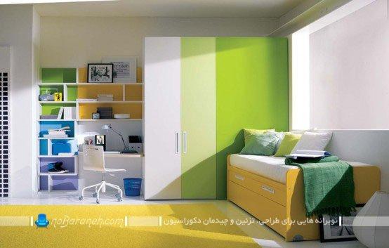 دیزاین دخترانه اتاق نوجوان با زرد و سبز