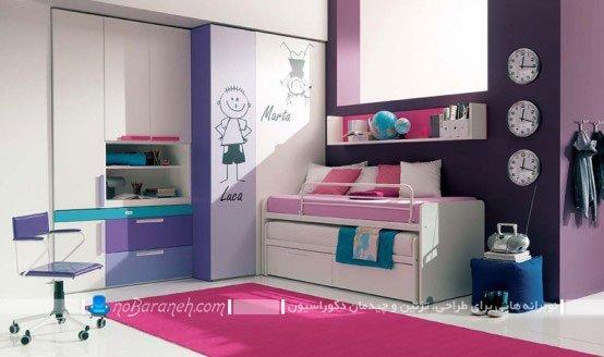 طراحی دکوراسیون دخترانه اتاق خواب نوجوانان با رنگ صورتی