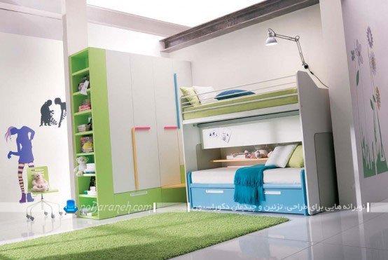 دکوراسیون اتاق خواب جوانان با تخت خواب دو طبقه مدرن
