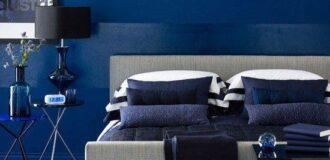 طراحی دکوراسیون اتاق خواب با رنگ سرمه ای