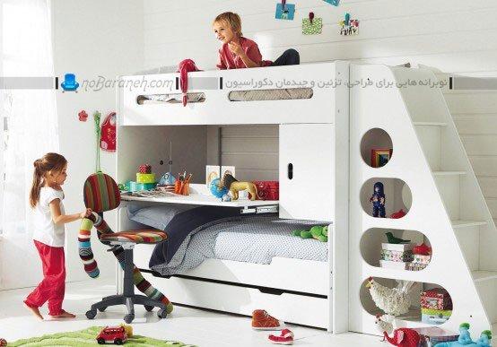 تخت خواب دو طبقه پله دار برای اتاق خواب کودکان / عکس