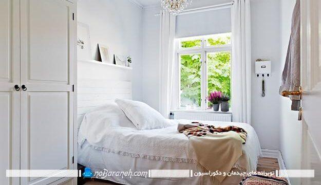 طراحی و تزیین دکوراسیون اتاق خواب کوچک با رنگ سفید، طراحی دکوراسیون کلاسیک در اتاق خواب کوچک 6 تا 8 متری با مبلمان و سرویس خواب ساده، کفپوش چوبی اتاق خواب