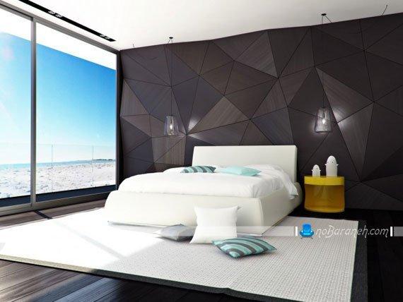 دیوارپوش مدرن اتاق خواب عروس با رنگ سیاه