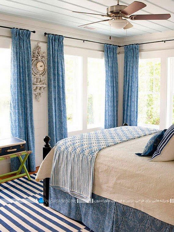 رنگ آمیزی اتاق خواب با پرده های آبی رنگ