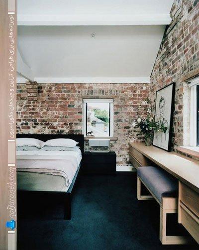 دیزاین دیوارهای اتاق خواب با آجر و سنگ های آنتیک / عکس