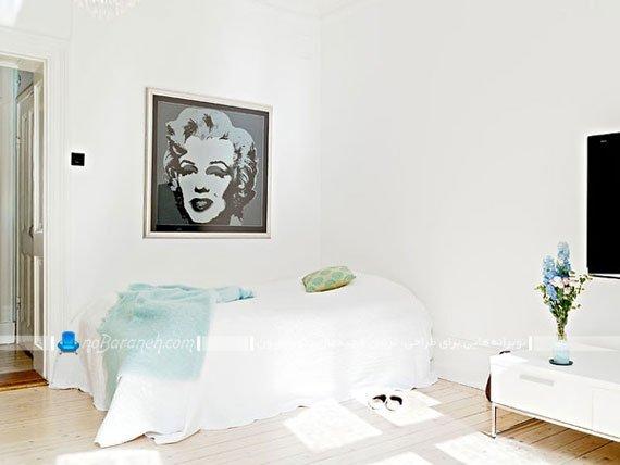 طراحی دکوراسیون اتاق خواب با رنگ سفید خالص / عکس