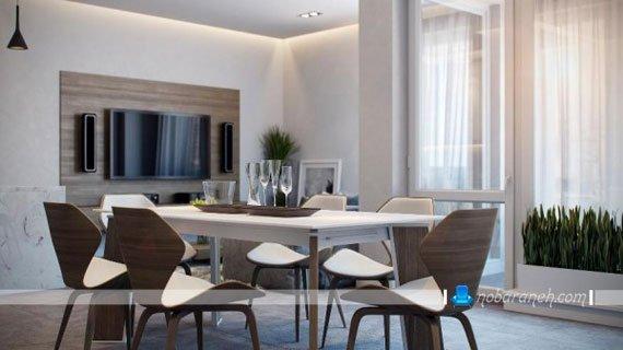 طراحی دکوراسیون خانه دو خوابه با ترکیب طرح چوب و رنگ سفید، مدل میز ناهارخوری شش نفره چوبی
