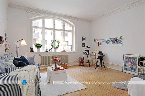 طراحی دکوراسیون داخلی اتاق نشیمن به شکل ساده / عکس