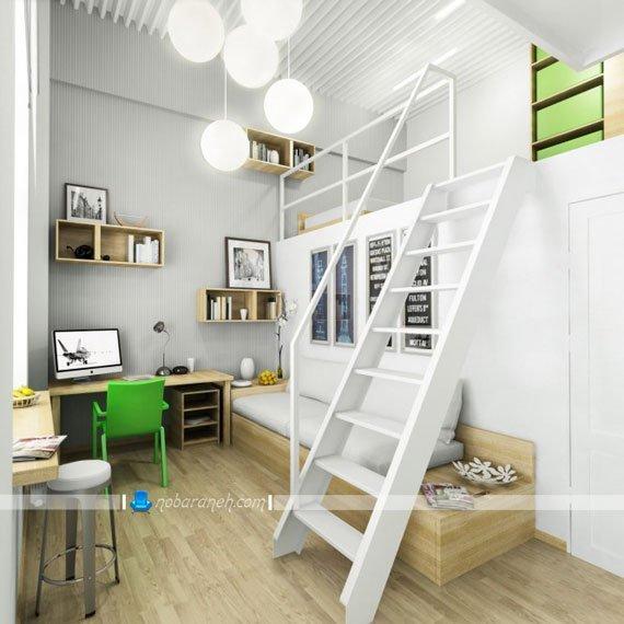 اتاق خواب نوجوان با معماری دوبلکس / عکس