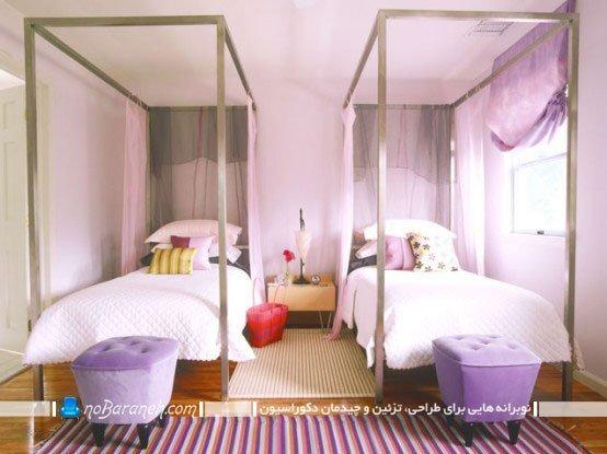 دکوراسیون دخترانه اتاق بچه ها با رنگ بنفش / عکس