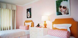 طراحی دکوراسیون دخترانه در اتاق کودکان دو قلو
