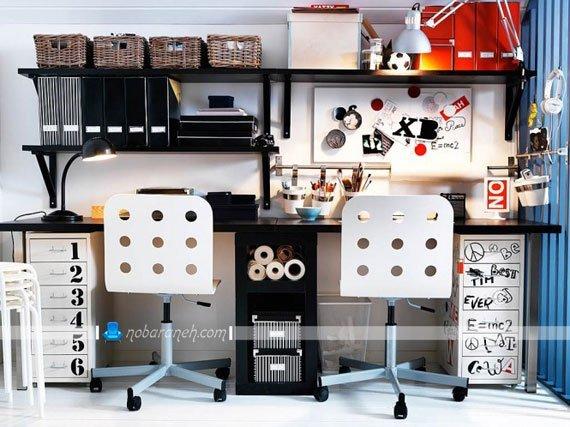 چیدمان میز تحریر دوقلو در اتاق خواب نوجوانان / عکس