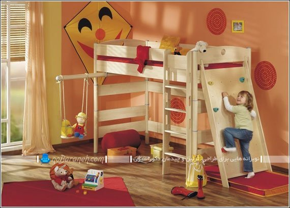 تخت خواب دخترانه و نردبان دار اتاق کودک