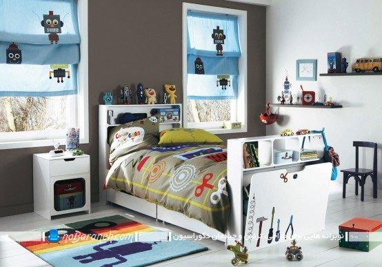 مبلمان اتاق کودک و دیزاین اتاق با سفید و قهوه ای