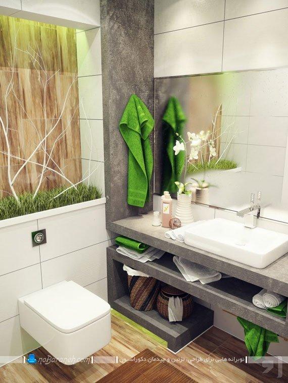 تزیین شیک آینه و اطراف روشویی و دستشویی