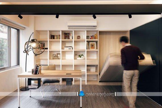 عکس و مدل طراحی داخلی خانه کوچک دانشجویی با دکوراسیون چوبی / عکس