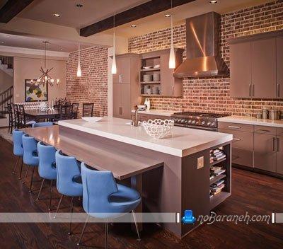 دیوارپوش سنگی و دکوراتیو برای تزیین دکوراسیون آشپزخانه اپن / عکس