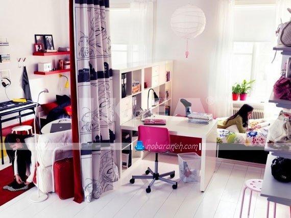 طراحی دکوراسیون دخترانه اتاق کودک نوجوان با رنگ های دخترانه / عکس