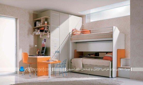 مدل تخت خواب دو طبقه کمجا برای اتاق دختران نوجوان