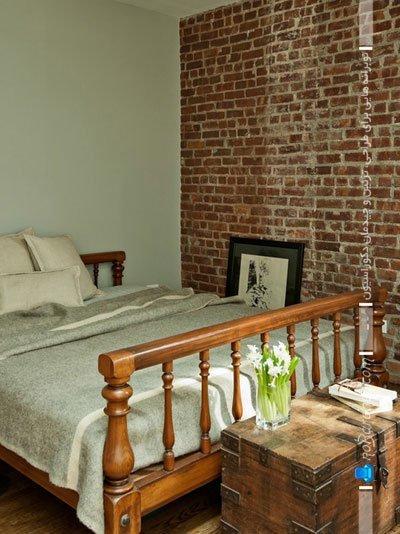 دیوارپوش آجری اتاق خواب / عکس