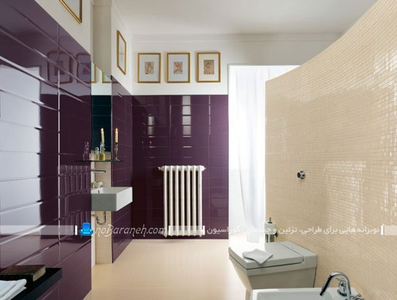 کاشی و سرامیک دیوار و کف حمام با رنگ های کرم و بنفش / عکس