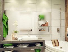 مدل کابینت و آینه دیواری حمام و روشویی
