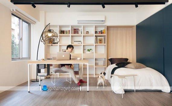چیدمان خانه کوچک آپارتمانی با کاربری مسکونی و اداری