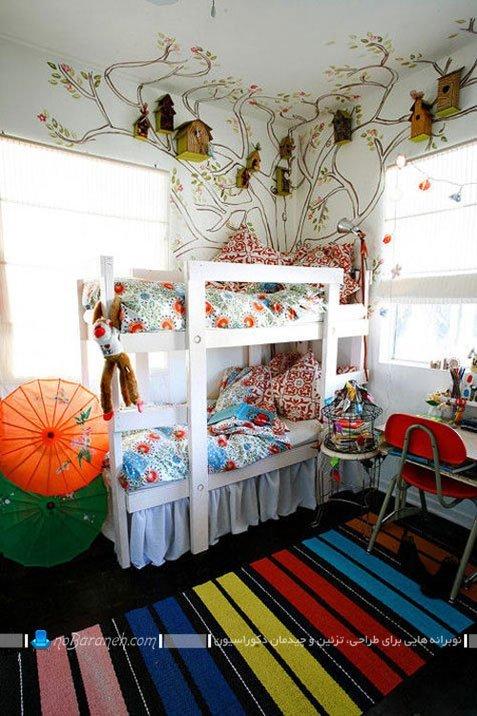 تزیین دیوار اتاق بچه ها با استیکر و لانه پرندگان / عکس