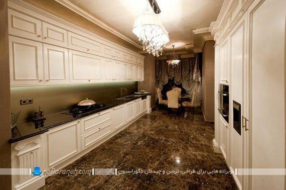 طراحی دکوراسیون ساده و کلاسیک در آشپزخانه های برج روما رزیدنس، آشپزخانه های سلطنتی با دکوراسیون گران قیمت