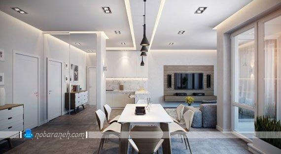طراحی دکوراسیون مدرن و شیک منزل دو خوابه با رنگ سرد