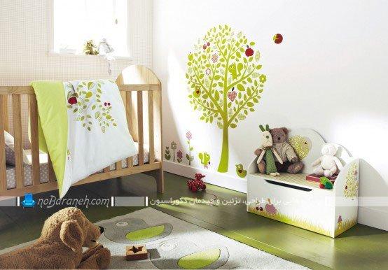 تزیین دخترانه و پسرانه اتاق خواب نوزاد با رنگ سبز، طراحی دکوراسیون و چیدمان اتاق نوزاد