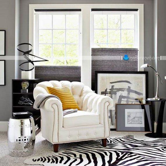 رنگ آمیزی شیک اتاق پذیرایی با مشکی و سفید