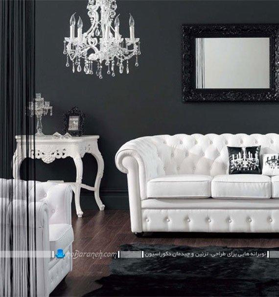 دیزاین سلطنتی اتاق نشیمن با دیوارهای سیاه رنگ