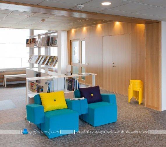 طراحی دکوراسیون اداری با رنگ های شاد