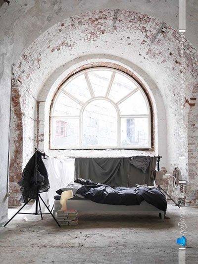 دیزاین اتاق خواب با دیوارپوش آجری