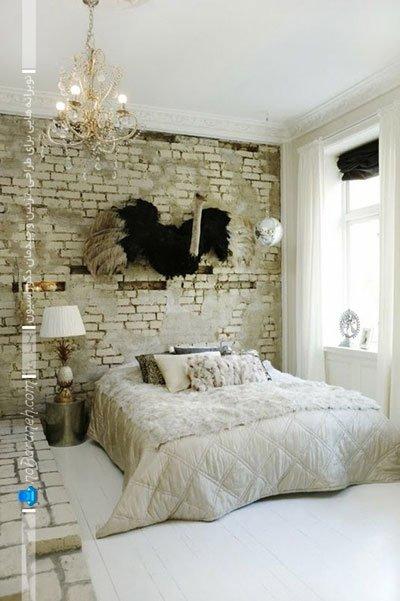 تزیین و دیزاین دکوراسیون داخلی اتاق خواب با دیوارپوش آجری / عکس