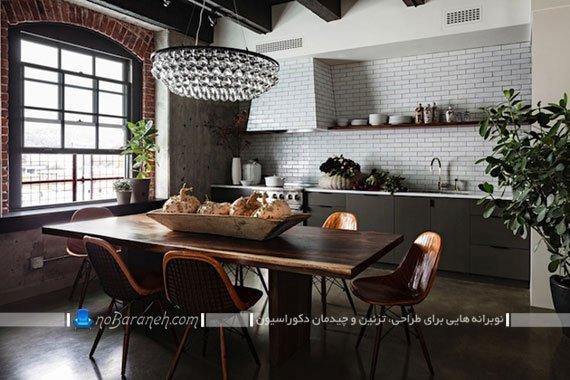 دیوارپوش آجری در آشپزخانه