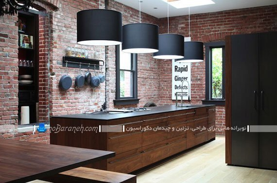 مدل دیوارپوش آجری سنتی آشپزخانه